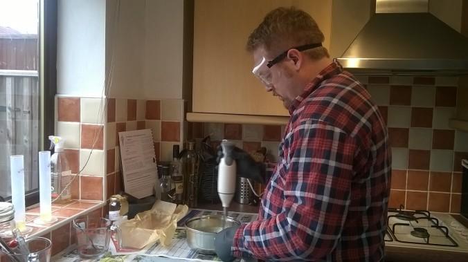 Beardy man in lumberjack shirt making soap .. GRRRR